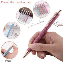 12 Color Creative Fashion Colorful Press Leather Metal Ballpoint Pen Cute Girl College Wind