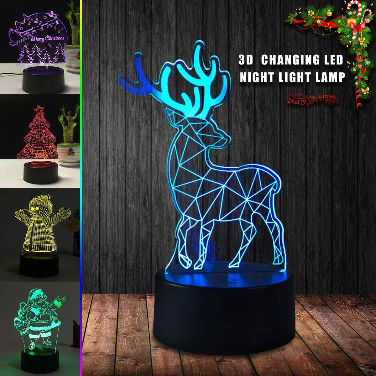 Color Switch Christmas Tree: 3D Night Light Color Change Merry Christmas Deer Tree