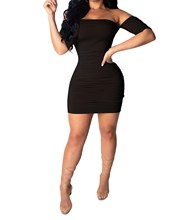 2019 Womens Summer Short Sleeve Sexy Bodycon Dress Slash Neck Mini Ruched Party Club