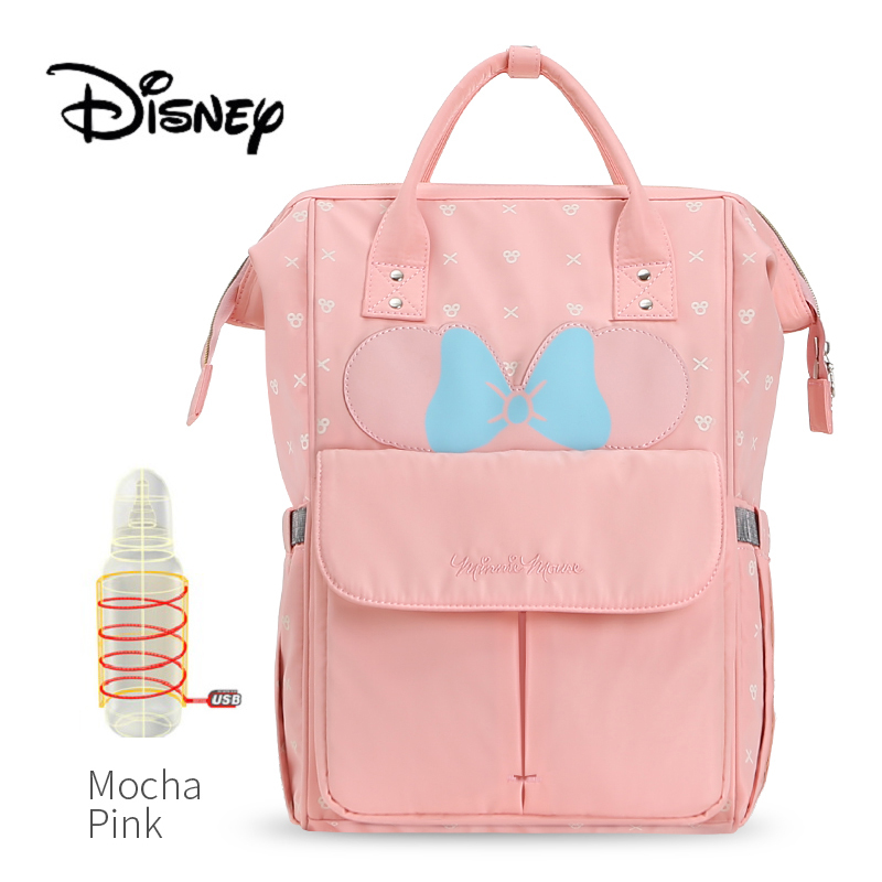 New Arrival Disney Diaper Bags USB Bottle Feeding Travel Backpack Baby care Storage Bag Mickey Cute Waterproof Mocha Mommy Bags