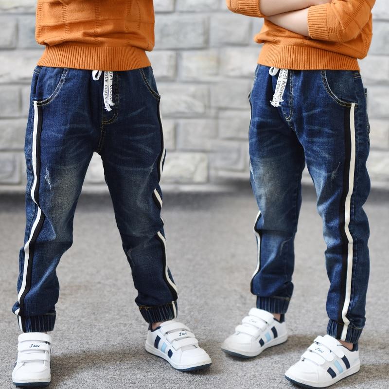 Джинсы для мальчиков ограниченной Свободные Однотонная повседневная обувь на осень джинсы для мальчиков детские модные джинсы, для От 3 до 5 лет От 6 до 14 лет-in Джинсы from Мать и ребенок