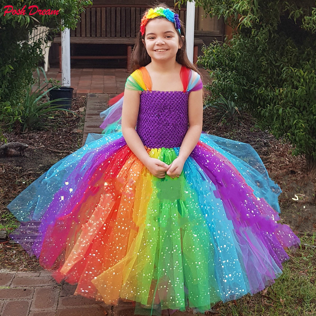 a2e6c0fdc2 US $26.79 33% OFF|POSH DREAM Sparkly Unicorn Kids Girls Inspired Dress  Easter Tutu Dresses Pony Costume Easter Birthday Party Clothes for  12Year-in ...