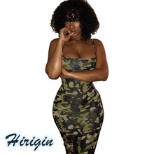 Summer Sexy Dresses Women Camo Casual Sleeveless Halter Dress Skinny HIgh Waist Spaghetti Strap