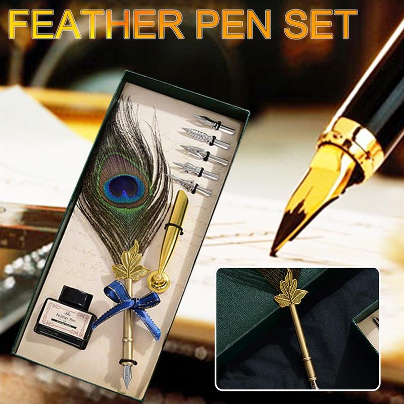 Europe Retro Feather Pen Set Ink Bottle Gift For Student Pen Calligraphy Feather Dip Quill Pen Stationery Gift Box with 5 NibsEurope Retro Feather Pen Set Ink Bottle Gift For Student Pen Calligraphy Feather Dip Quill Pen Stationery Gift Box with 5 Nibs