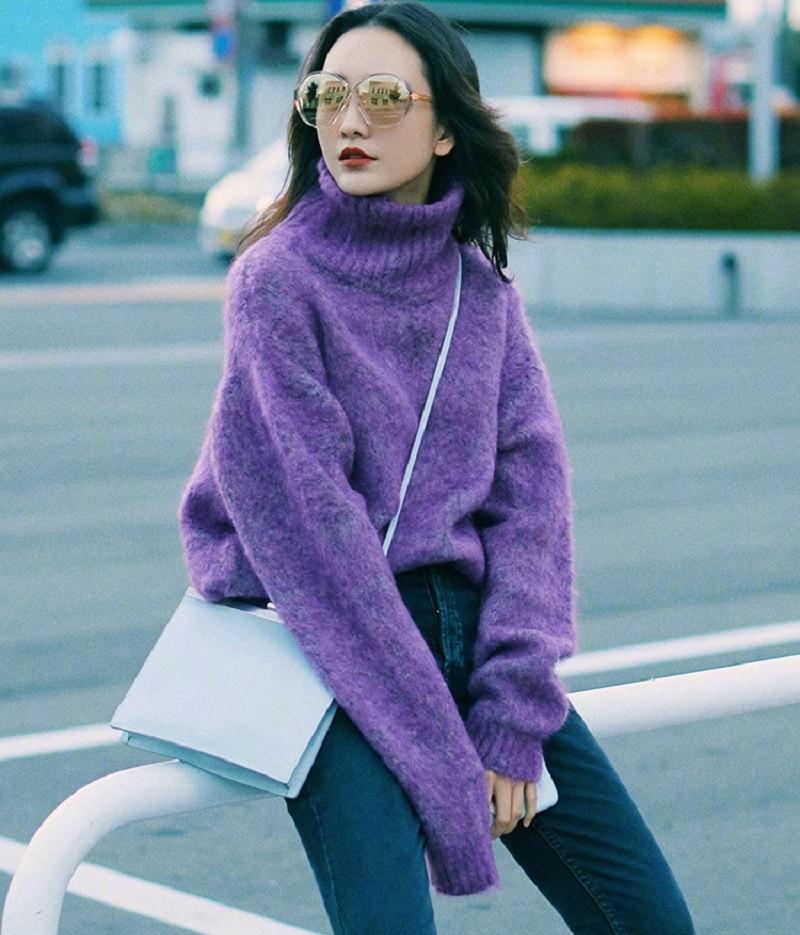 2018 зимние элегантные для женщин фиолетовый свитер с воротником