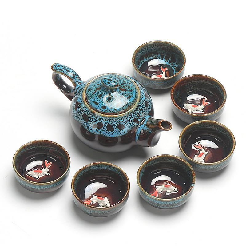 קרמיקה זיגוג ספלי תה הסיני קונג פו סטי Teaware סין תה סט קומקום Teaset Gaiwan סט תה כוסות של תה טקס מאסטר קומקום