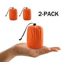 Saco de dormir de emergência térmica  2 peças  sobrevivência  acampamento  bolsa de viagem  à prova d' água  inverno  outono  piquenique  almofada anti-frio