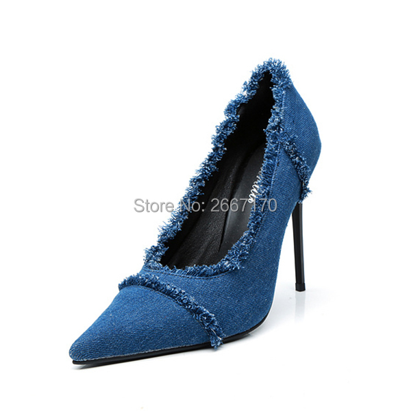 Franges Pic Denim Top Sexy Chaussures Qualité Dames Talons Robe Mode Haute Bout À As Bleu Stiletto Designers Bureau Pompes Pointu La Cowboy qdZr1Twnq