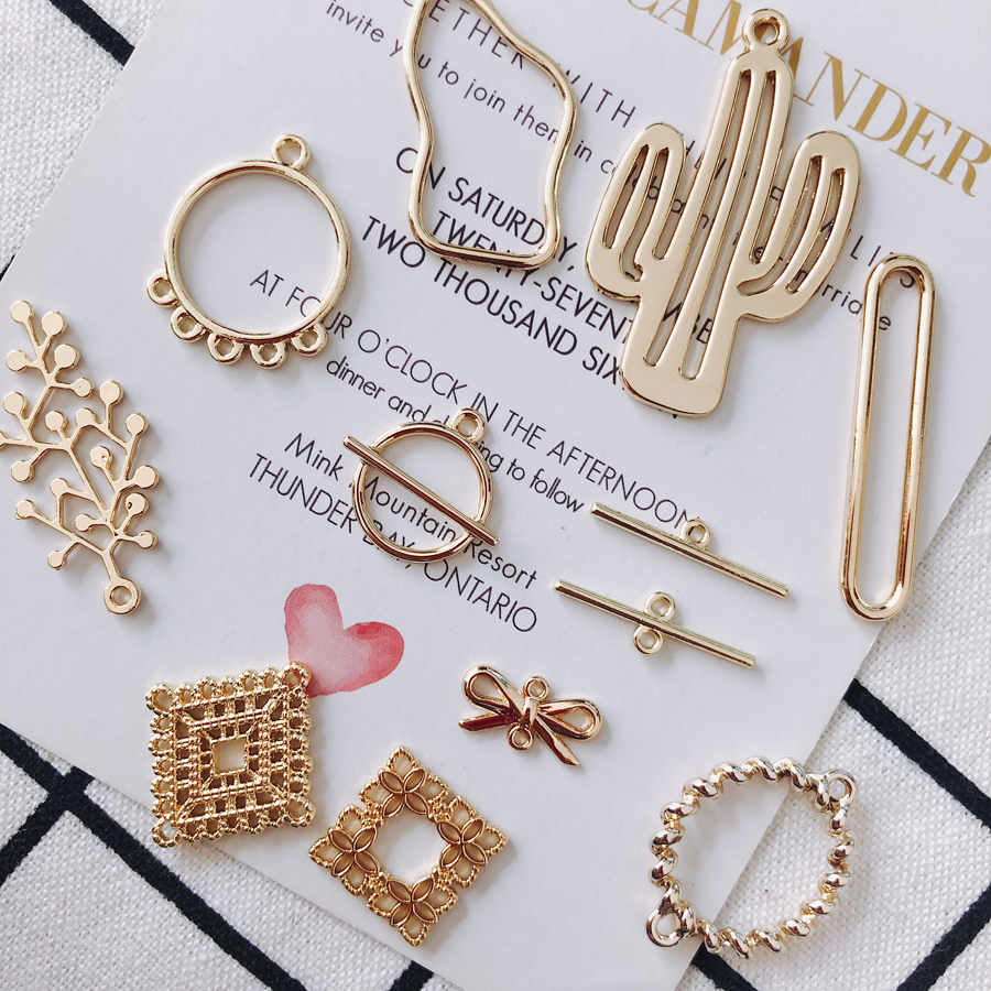 KC Gold Plated Earring Accessories Metal Charms Pendant Eardrop Components Necklace Diy Making Material Jewelry Finding 8pcs