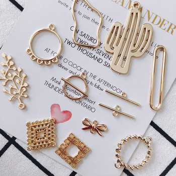 KC Gold Plated Earring Accessories Metal Charms Pendant Eardrop Components Necklace Diy Making Material Jewelry Finding 8pcs 2020 new designer flower charm plated gold rose pendant diy earrings charms making necklace accessories