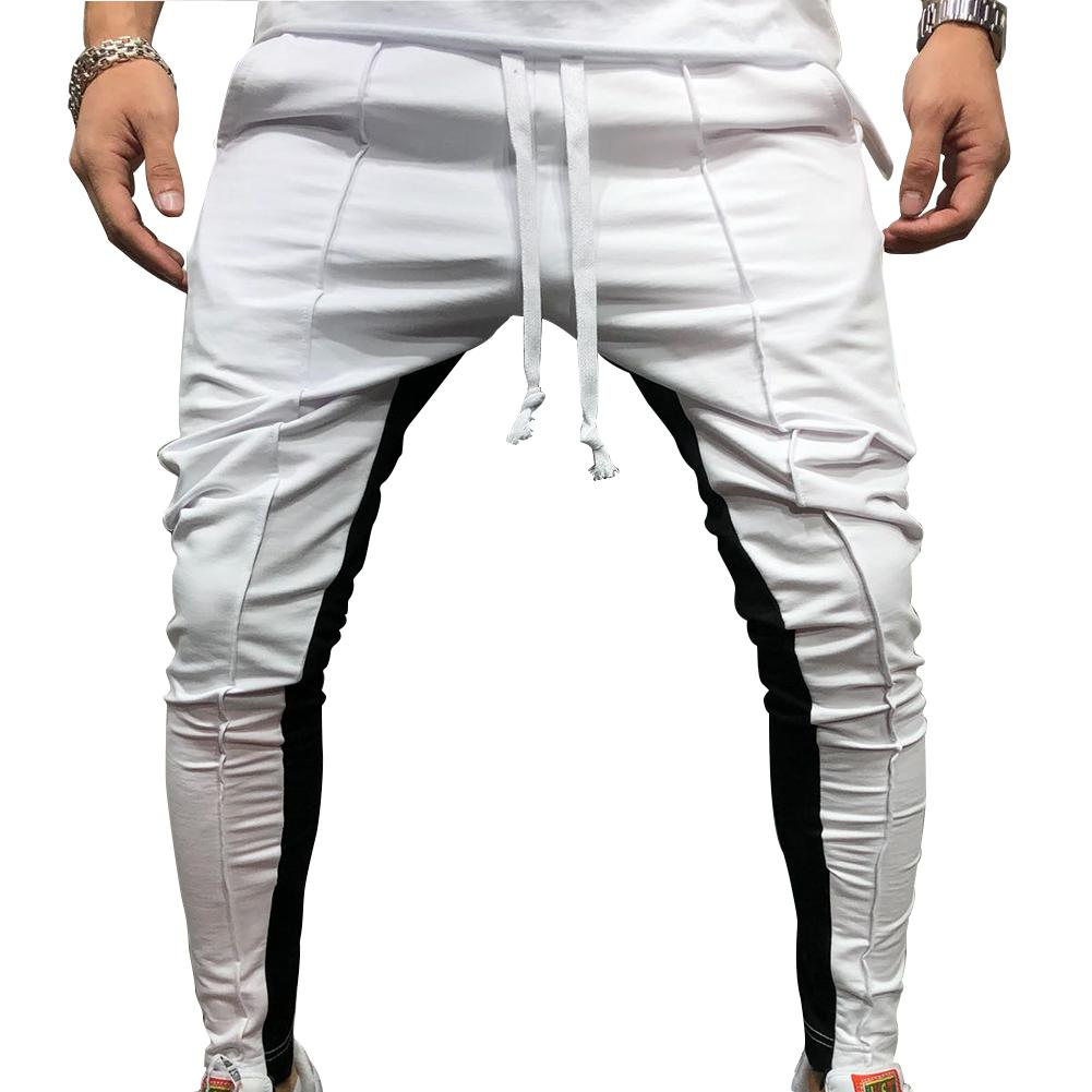 MISSKY New Men Pants Patchwork Color Hip-hop Small Feet Sports Tether Fitness Pants