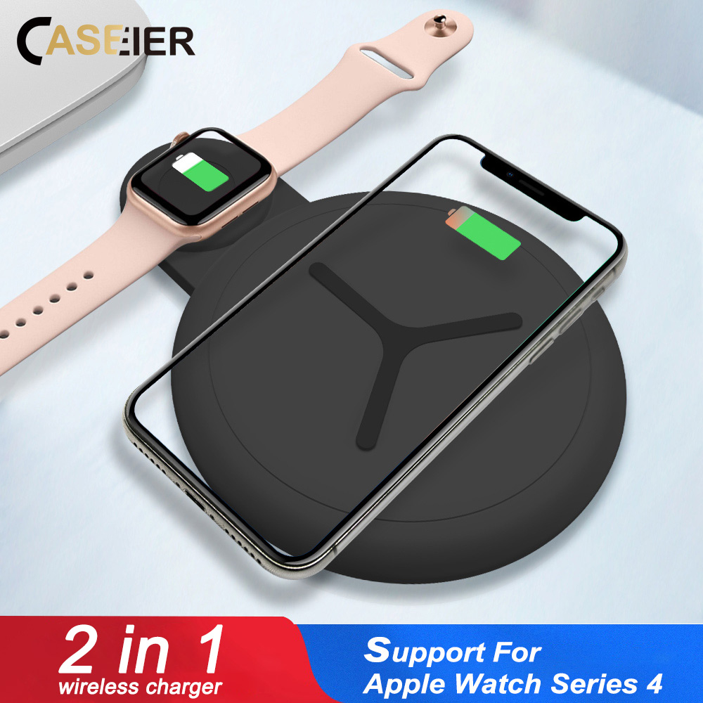 CASEIER 2 in 1 QI Wireless Charger For Apple Watch 4 3 2 Fast Charger For iPhone Samsung S10 S9 S8 Dual 12.5W Wireless ChargersCASEIER 2 in 1 QI Wireless Charger For Apple Watch 4 3 2 Fast Charger For iPhone Samsung S10 S9 S8 Dual 12.5W Wireless Chargers