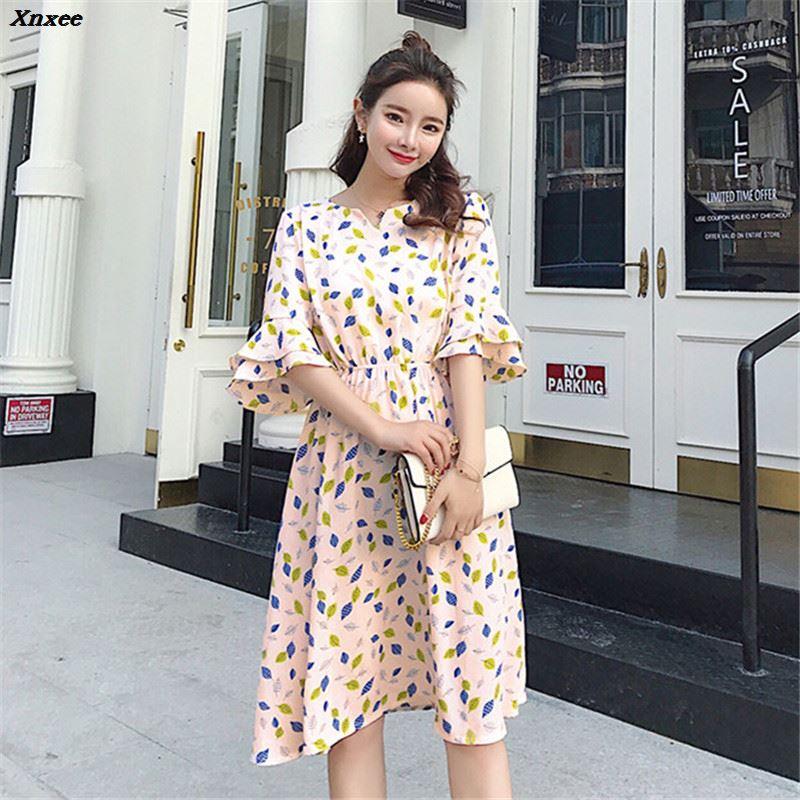 Hot Women Casual Flower Print Chiffon Summer Mini Dress Elegant Short Sleeve High Waist Girl V neck Dress Vestidos Xnxee in Dresses from Women 39 s Clothing