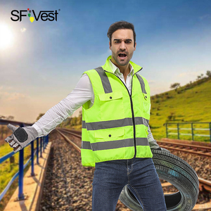 Image 4 - Reflective Safety Vest Reflective Multi Pockets Workwear Security Working Clothes Day Night Cycling Warning Safety Waistcoat