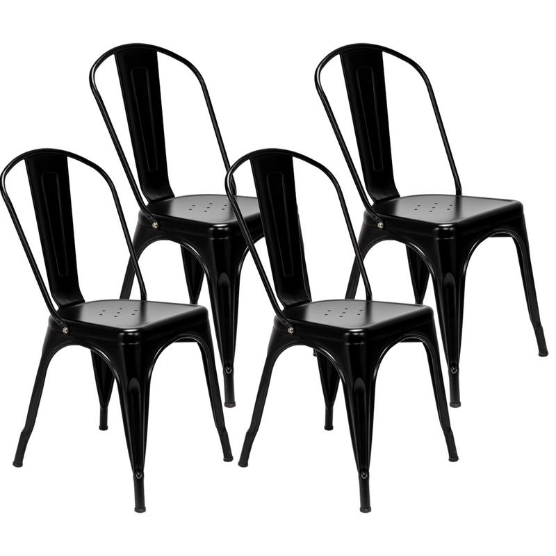 4pcs Retro Industrial-style Iron Sheet Chair Black Chair Lacquer Process Home Restaurant And Bar