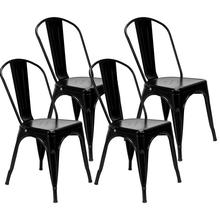 4pcs Retro Industrial-style Iron Sheet Chair Black Lacquer Process Home Restaurant And Bar