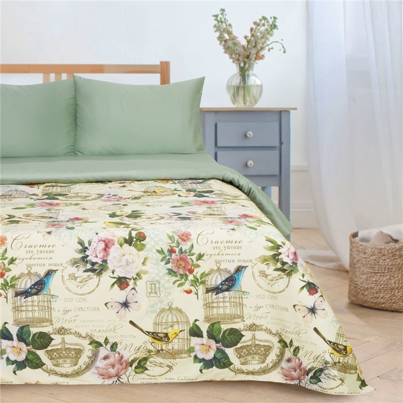 Bed Linen Ethel Duo Happiness be home 143*215 см-2 piece, 220*240 cm, 50*70 см-2 PCs, Mako-satin