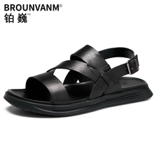 Classical Men Ankle Strap Leather Sandals Nallow Band Gladiator Summer Beach Holiday Shoes Casual US6-10