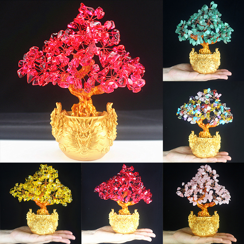 1Pc Feng Shui Money Lucky Rich Tree Craft Natural Crystal Office Home Room Decor|Figurines & Miniatures| |  - title=