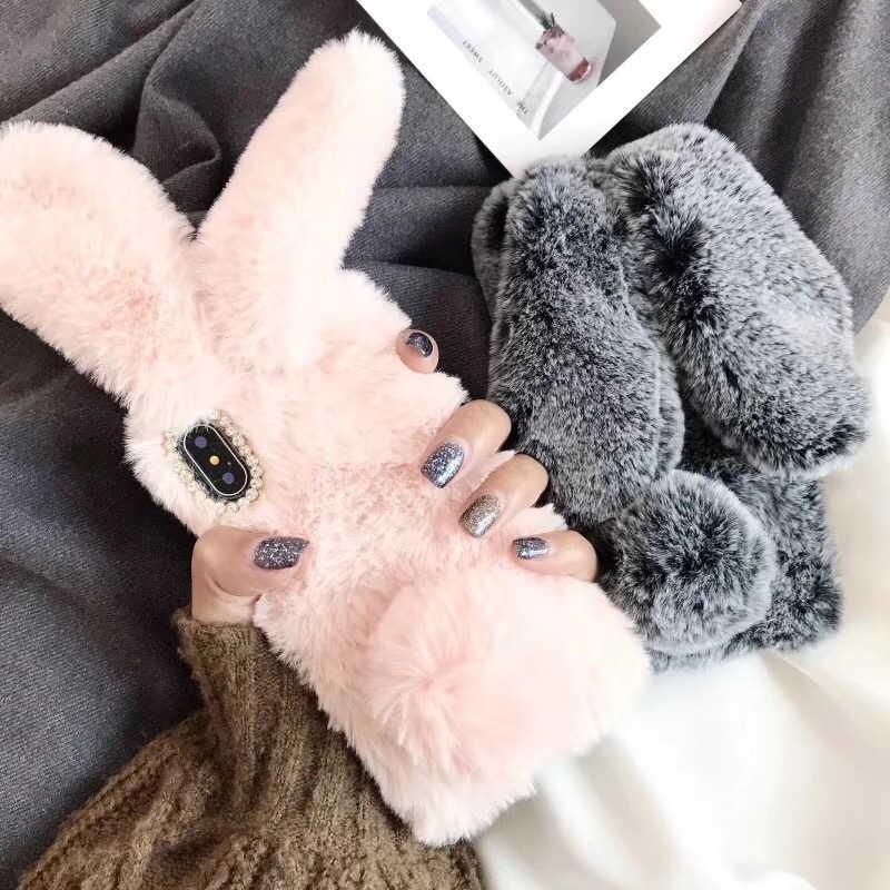 3e7cd4a1102 For iPhone 7 Case 3D Cute Rabbit Ear Hairy Warm Fur Bling Rhinestone Plush  Fluffy Bunny