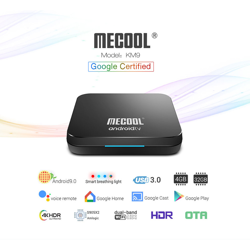 <font><b>Mecool</b></font> <font><b>KM9</b></font> ATV <font><b>S905X2</b></font> 4GB DDR4 32GB <font><b>Android</b></font> 9.0 5G WIFI bluetooth 4.1 4K Voice Control <font><b>TV</b></font> <font><b>Box</b></font> Google Certificated image