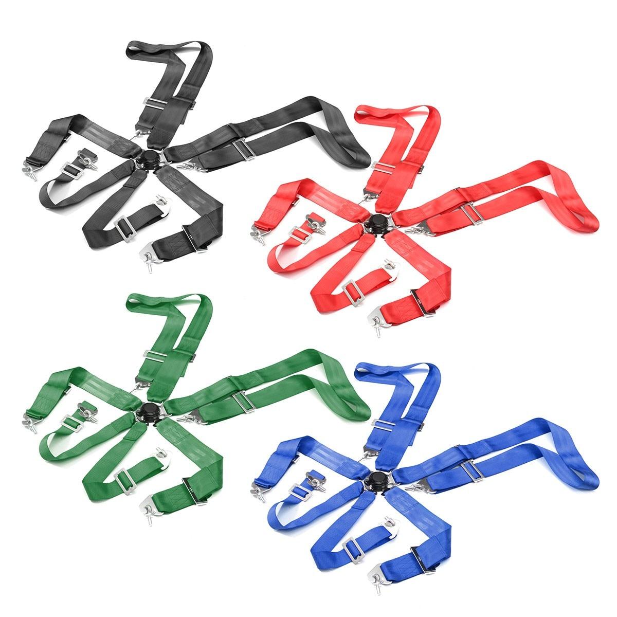 Sports Racing harnais ceinture de sécurité 6 points fixation montage rapide Nylon sécurité voiture course ceinture de sécurité noir rouge vert