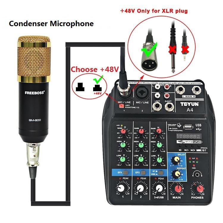 Mixing Console Bluetooth USB Record Computer Playback 48V Phantom Power Delay Repaeat Effect 4 Channels Audio