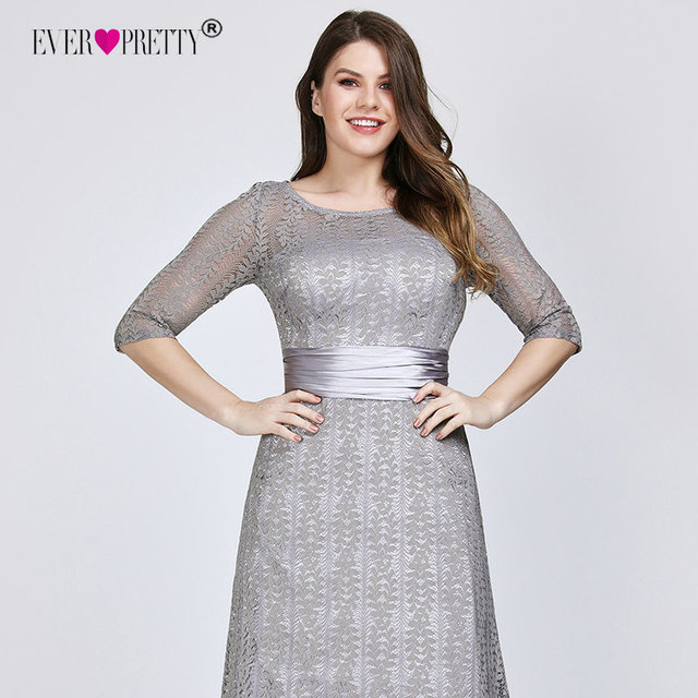 Elegant Plus Size Evening Dresses Long 2020 Ever Pretty EP08878GY A-line Lace Half Sleeve Grey Formal Party Gowns for Wedding 5