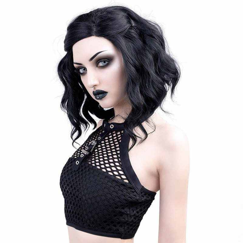 Summer Mesh Top Sexy Gothic Hollow Out Women Trendy Black Crop Top Club Streetwear Buckle Punk Cool Girl Backless Goth Tank Tops