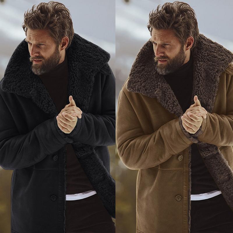 MR K Jackets Men 2018 Men Fleece Coat Streetwear Hip Hop Warm Teddy Bear Lining Lapel Cotton Button Outwear Coat Male Jacket