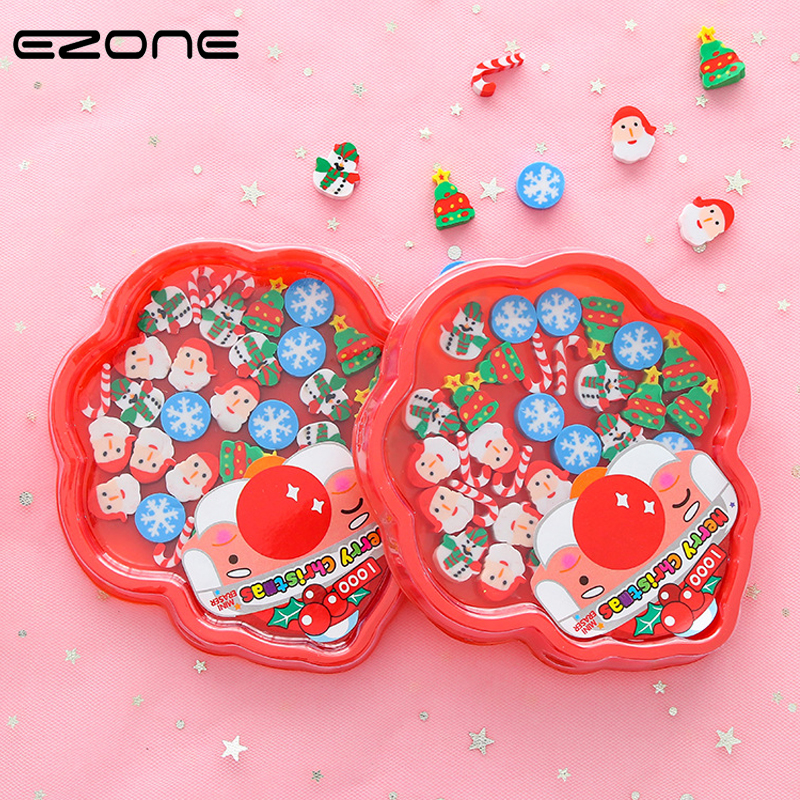 EZONE 30PCS/Box Christmas Eraser Design Of Kawaii Christmas Tree/Snowman/Santa Claus/Snowflake Shape Kids Gifts School Supply