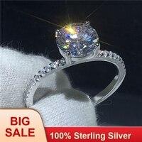 Solitaire палец кольцо 100% Soild 925 пробы серебро обещание фианит AAAAA крест обручение обручальное кольца для женщин подарок