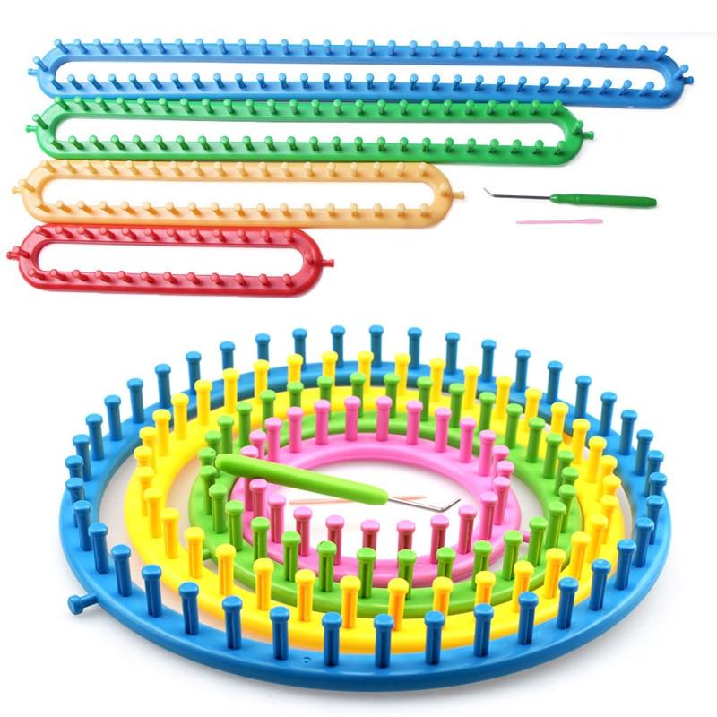 1 Set Knit Tool 4 Size Long Knitting Knitter Looms Set Sewing Tools Accessory Hat Socks Maker Plastic Round DIY Tool Kit