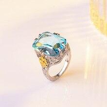 цена на Princess Sapphire Ring with Sea Blue Diamond for Women Girl Bizuteria Bague Etoile Anillos De Crystal Diamante Gemstone Rings