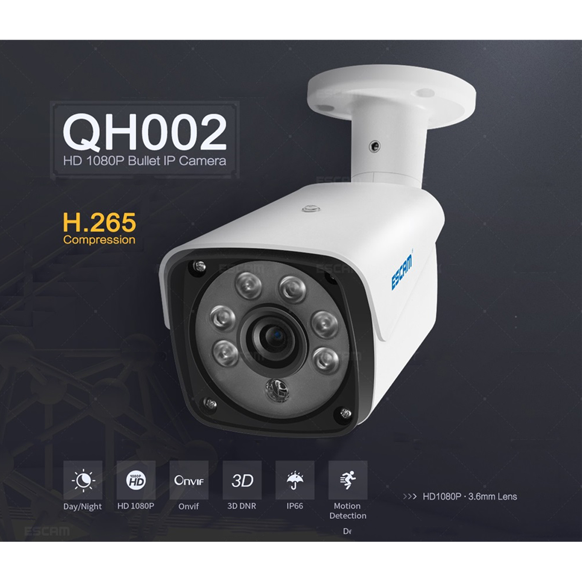 ESCAM QH002 1080P HD IP Camera H.265 ONVIF IR Waterproof CCTV Baby Monitor with Smart Analysis Function Camera Outdoor Indoor escam q1039 onvif hd 1080p ip camera
