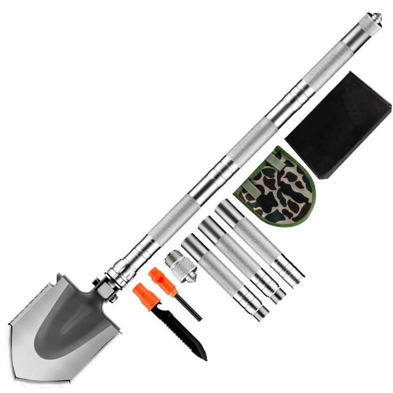 1 set multi-fonctionnel Camping pelles outils de survie pliant détachable EDC chasse Dibble Pick d'urgence jardin extérieur outil