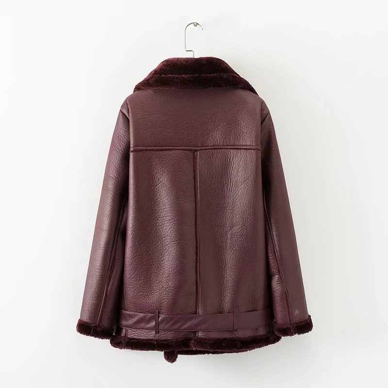 Winter Women Outdoor Faux  Lamb Leather Wool Fur Collar Suede Jacket Coats Female Camping Trekking Hunting Warm Thick Outerwear