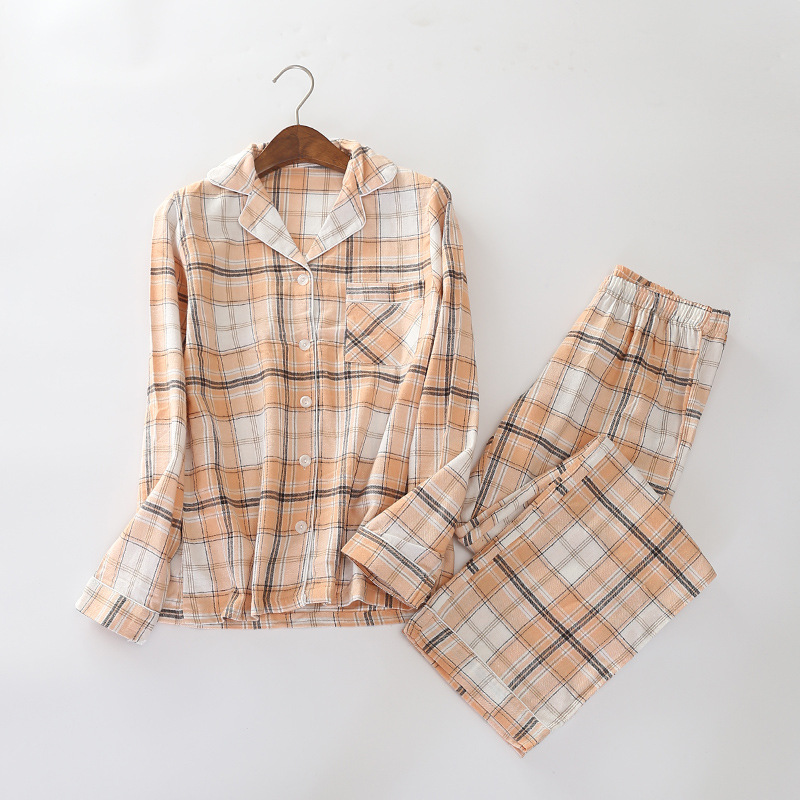 M-6XL Long Sleeve Pure Cotton Yarn Dyed Flannel   Pajamas   Leisurewear Suit Plaid Trousers Pyjamas Women Plus Size   Pajama     Set   32-46