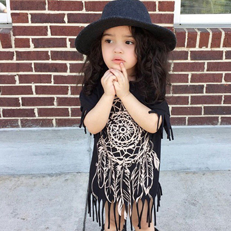 Summer season 2019 Explosions Tassel Informal Household Matching Outfits Korean Style New Woman Toddler Child Cartoon Black Gown Matching Household Outfits, Low-cost Matching Household Outfits, Summer season 2019 Explosions...