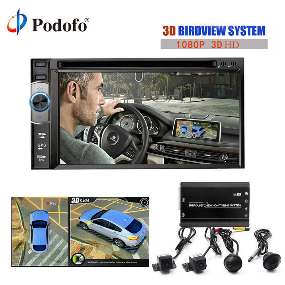Podofo 3D 360 Gradi HD Surround View Monitoraggio SystemDriving Con Vista Uccello Panorama 4 della Macchina fotografica 1080 P Registratore DVR g-Sensor
