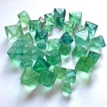 Natural Octahedral Colorful Fluorite Raw Gemstone Ornament Cane Decoration Stone Green Purple Collection Stones Crystals Mineral