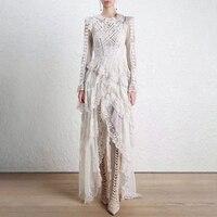 LANMREM 2018 New Fashion Multi layer Lace Patchwork Irregular Bandage Wist Dress Female's Long Sleeve Clothing Vestido YF35700