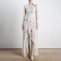 LANMREM 2019 New Fashion Multi layer Lace Patchwork Irregular Bandage Wist Dress Female's Long Sleeve Clothing Vestido YF35700