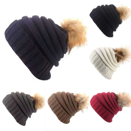 Winter Women Ladies Warm Knitted   Skullies     Beanies   Cap Hats Soft Stretch Fur Pom   Beanie   Bobble Skull Hat Cap