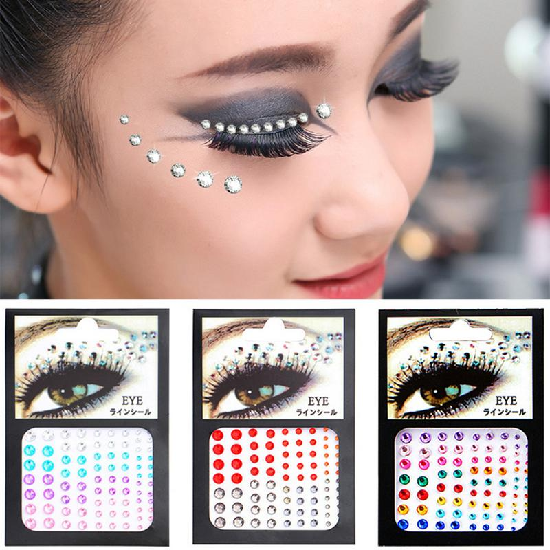 Face Gems Jewels Crystal Sticker Eye Crafted Body Temporary Tattoo Glitter For Female Party Make Up 6 Colors