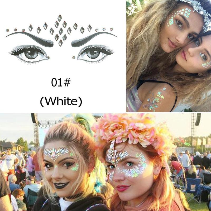 3D Crystal Glitter Jewels Tattoo Sticker Women Fashion Face Body Gems Gypsy  Festival Adornment Party Makeup Beauty Stickers 363322e3ad93