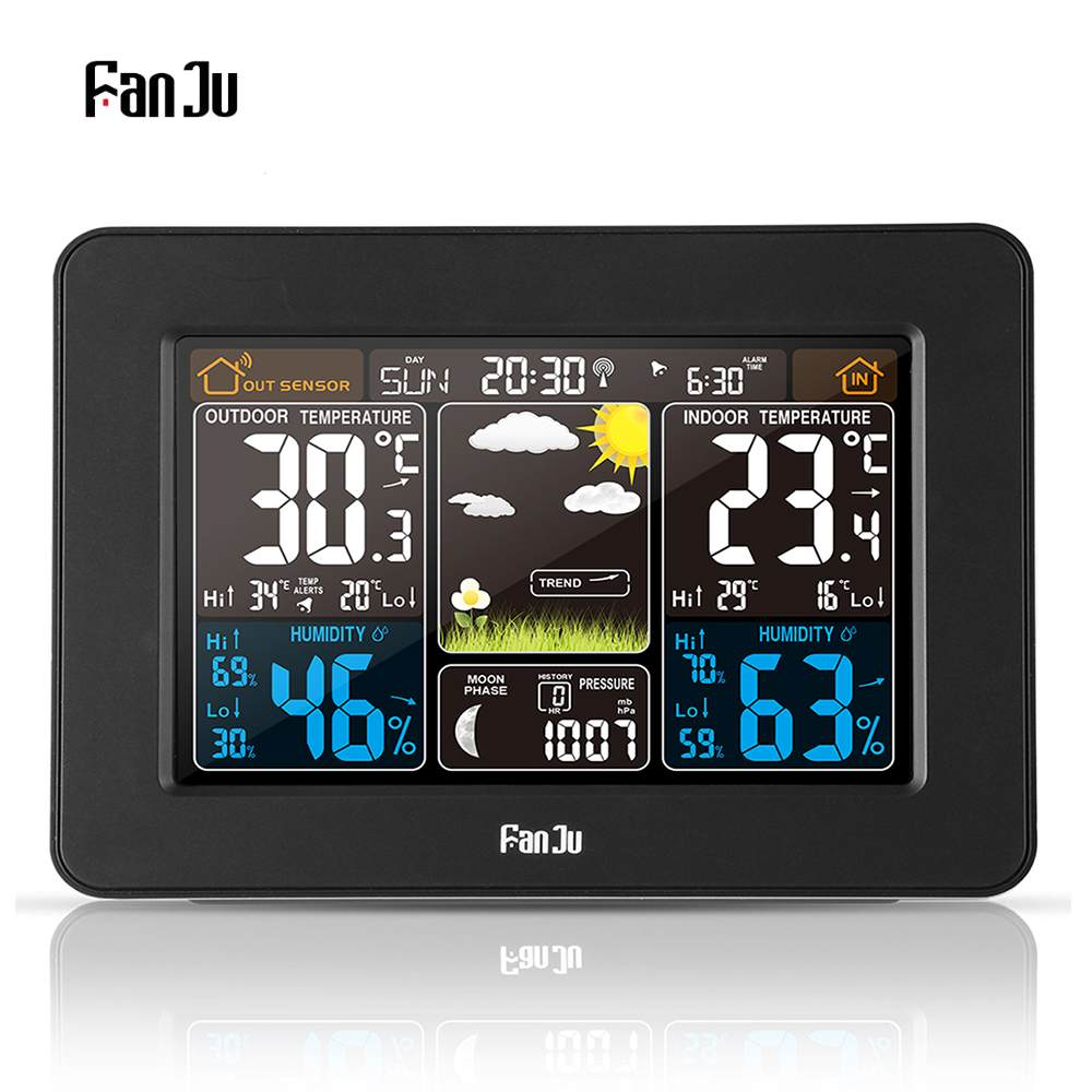FanJu FJ3365 EU/US Plug Weather Station Multi-function Digital Clock Temperature Humidity Moon Phase Desk Table LCD Alarm Clock FanJu FJ3365 EU/US Plug Weather Station Multi-function Digital Clock Temperature Humidity Moon Phase Desk Table LCD Alarm Clock