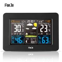 FanJu FJ3365 EU/US Plug Weather Station Multi function Digital Clock Temperature Humidity Moon Phase Desk Table LCD Alarm Clock
