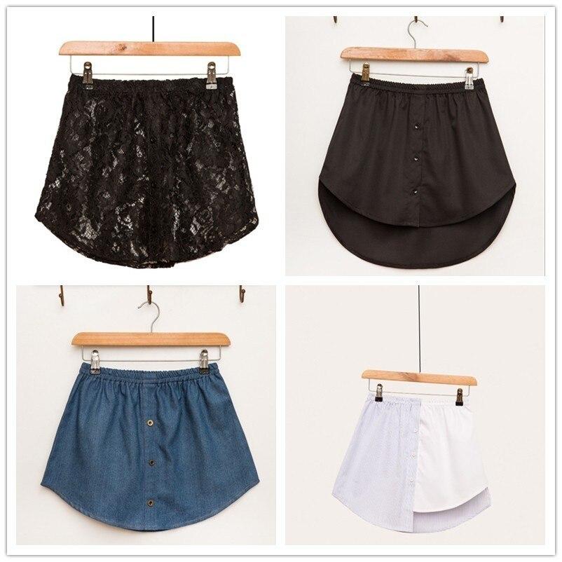 New 2019 Stripe Spelling Color Irregular False Shirt Skirt Half-body Skirt Female Skirts Wholesale Drop Shpper