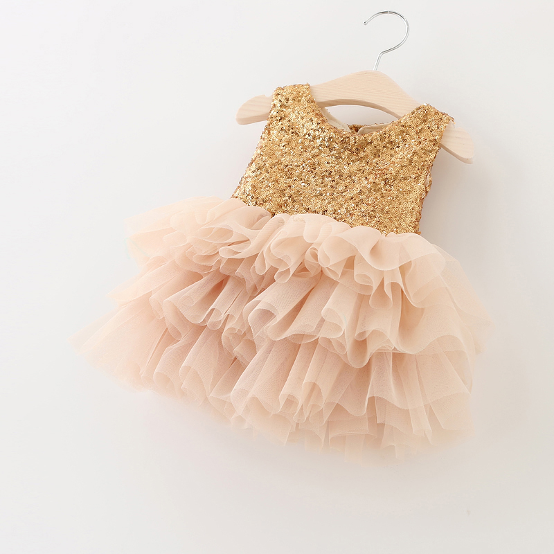 Golden Sequined Princesa Kids Dress Patchwork Layered Mesh Dos Super Bow vestidos de las muchachas para la boda vetement fille Tamaño 1-6T